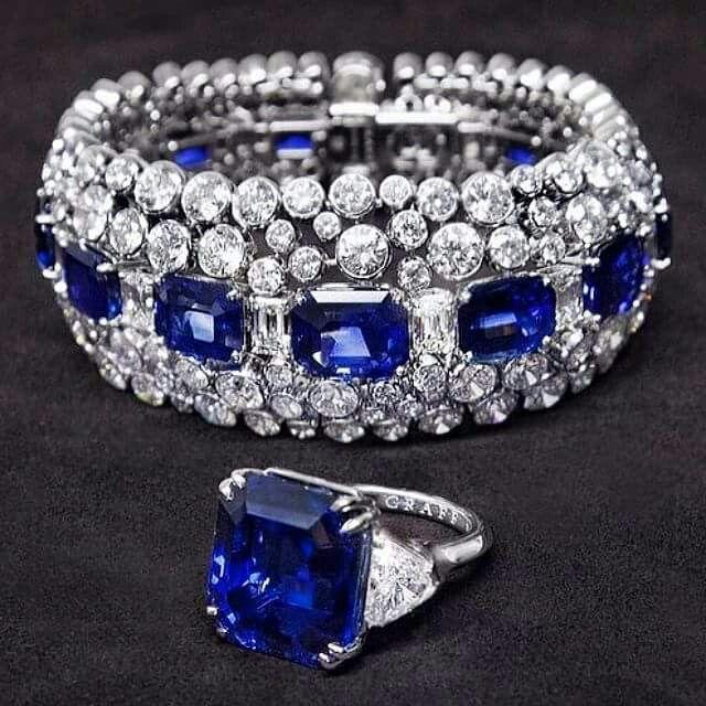 A breathtaking Graff Diamonds 35.26ct Emerald cut Sapphire & Diamond ring and Sa...