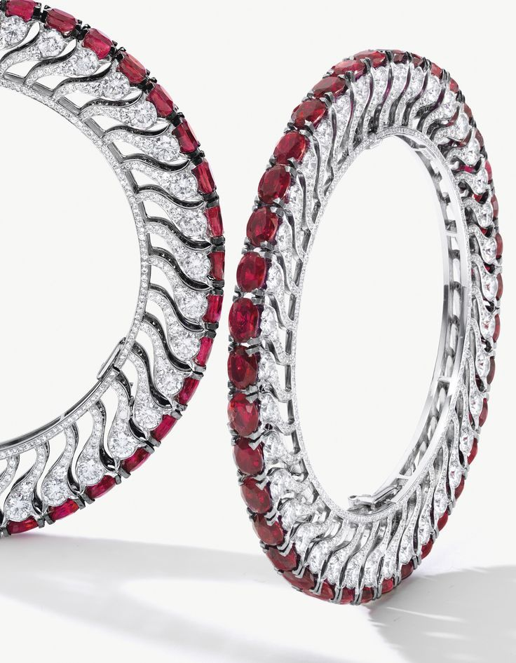 Unique Pair of Ruby and Diamond Bangles, BHAGAT Each set with thirty-eight oval ...
