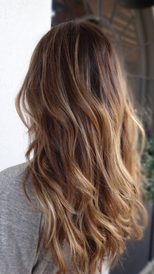 Balayage. Long haircut with waves. Natural. Ombré.