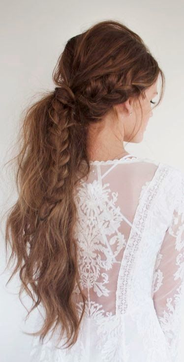 Coachella perfect hairdo. Messy pony tail with a little braid. Boho and gipsy in...