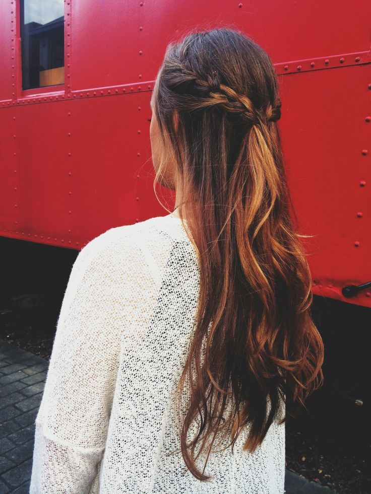 Long simple hairstyle for long hair. Long hair with a braid.