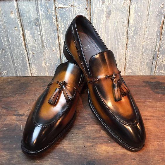 Black/brown blend tassel loafers