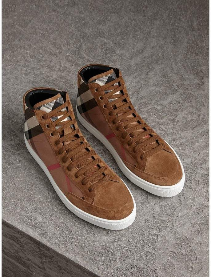 Burberry House Check and Calf Suede High-top Sneakers