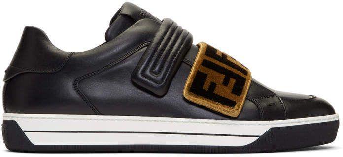 Fendi Black Tapestry Logo Sneakers
