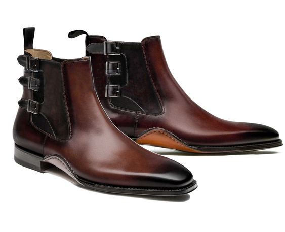 HANDMADE CHELSEA LEATHER BOOTS, ANKLE HIGH TRIPLE BUCKLE BOOTS - Dress/Formal