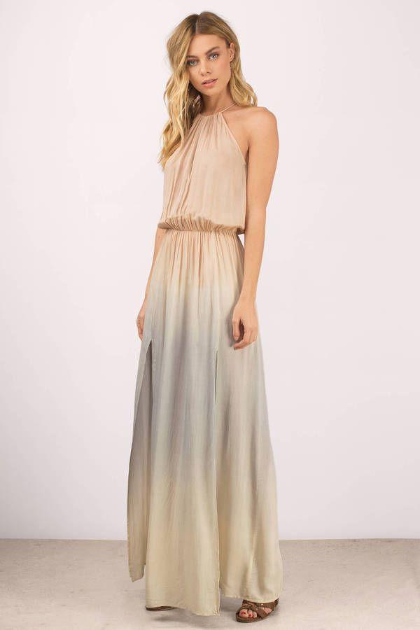 "4c3c3e3d104 Search ""Angelica Blush Multi Maxi Dress"" on Tobi.com! high neck comfy  cinched elastic waist double slit floor length sleeveless tie dye  ShopTobi   fashion ..."