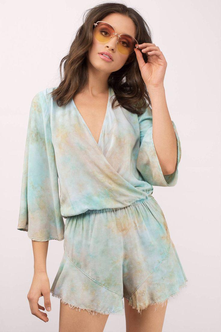 b66cdb701376 ... on Tobi.com! plunging plunge neckline tie dye pastel kimono sleeve raw  edge hem elastic waist v neck loose 3 4 sleeve  ShopTobi  fashion  summer   spring ...
