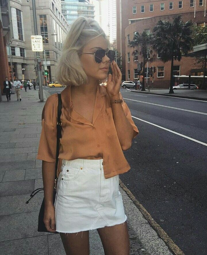 399f547704f Trendy Ideas For Summer Outfits   denim mini skirt + cropped satin ...