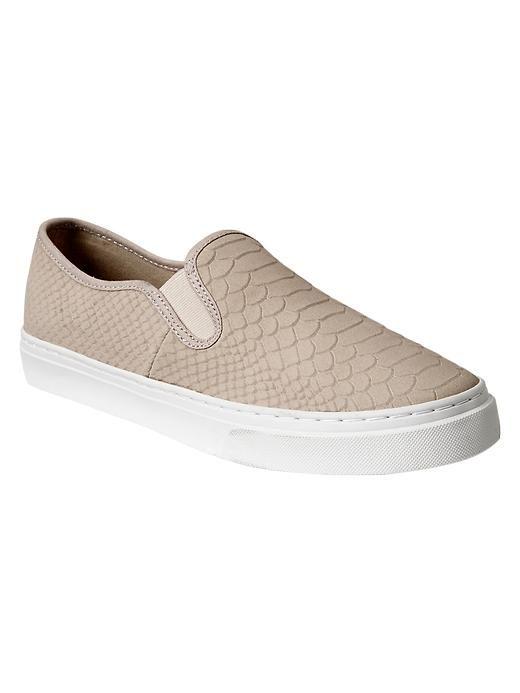 Snakeskin textured slip-on sneakers