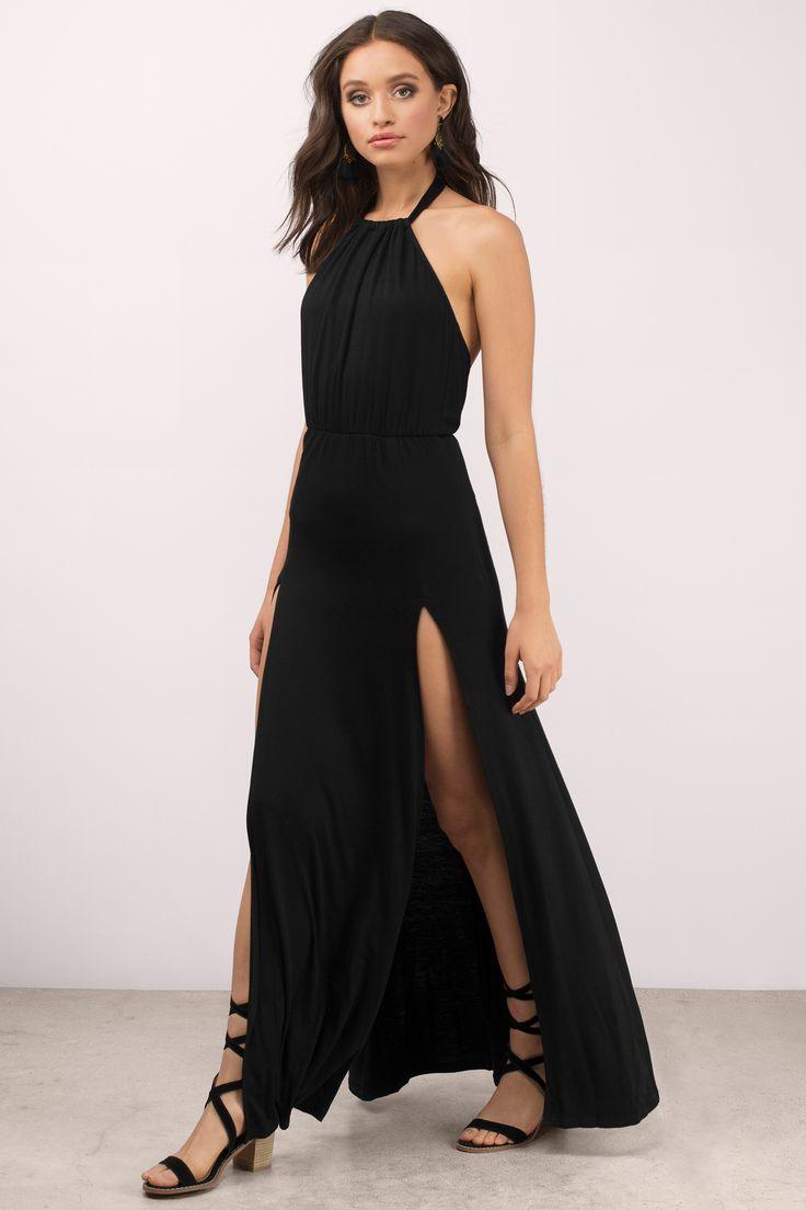 "8d2b4cadd3 Search ""Loni Black Maxi Dress"" on Tobi.com! high neck halter low open back  thigh slit floor length maxi dress  ShopTobi  fashion shop buy cheap  inexpensive ..."