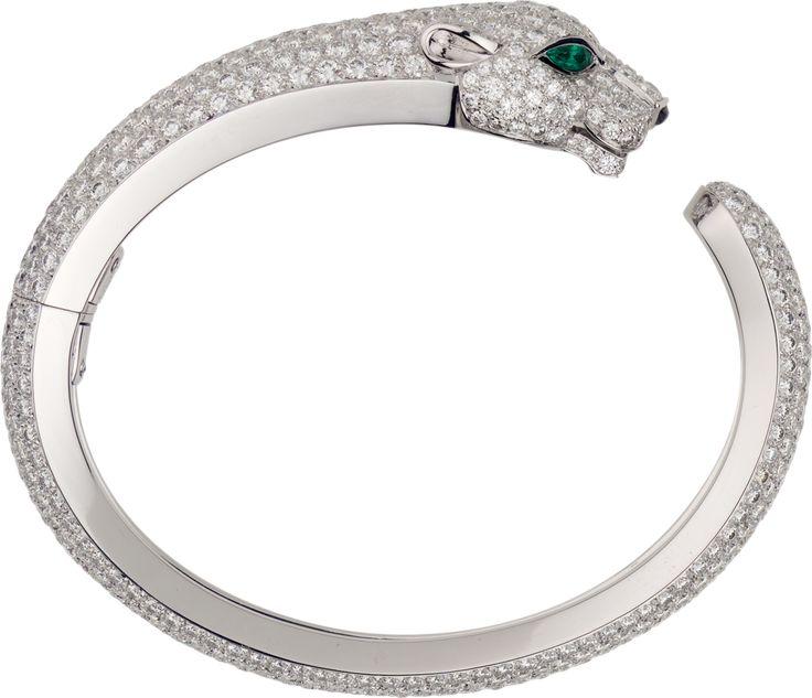 Bracelet Panthère de Cartier Or gris, émeraudes, onyx, diamants