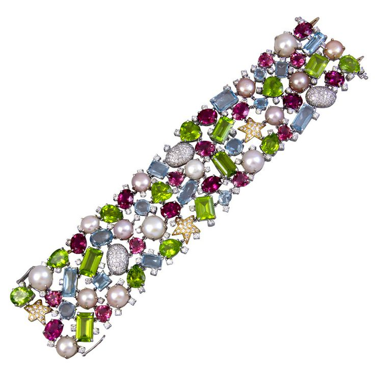 Colorful Bracelet with Pearls, Tourmalines and Diamonds