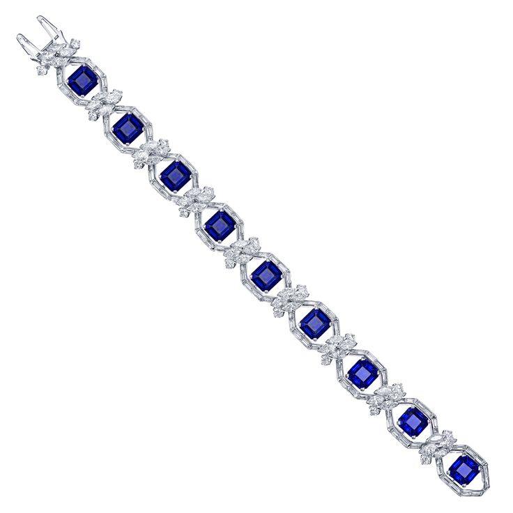 Estate Betteridge Collection Emerald-Cut Sapphire & Diamond Bracelet
