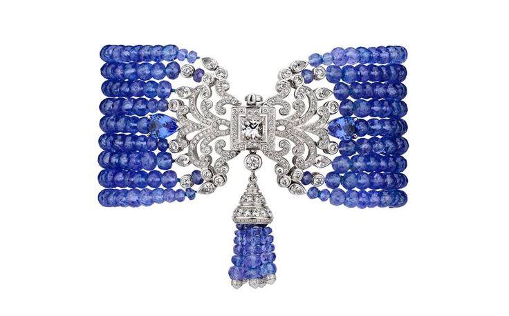 Garrard Wisteria bracelet in white gold with diamonds, sapphires and tanzanite b...