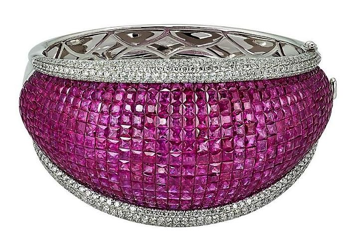 Ruby Diamond Gold Tapered Cuff Bracelet. mm
