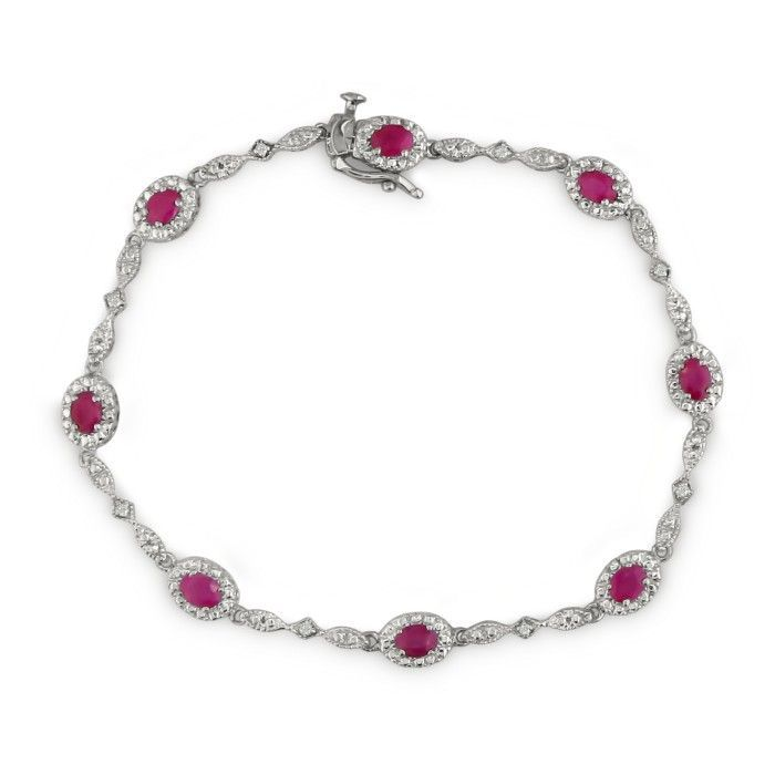Ruby and Diamond antique bracelet | 2ct Antique Ruby and Diamond Bracelet in 10k...