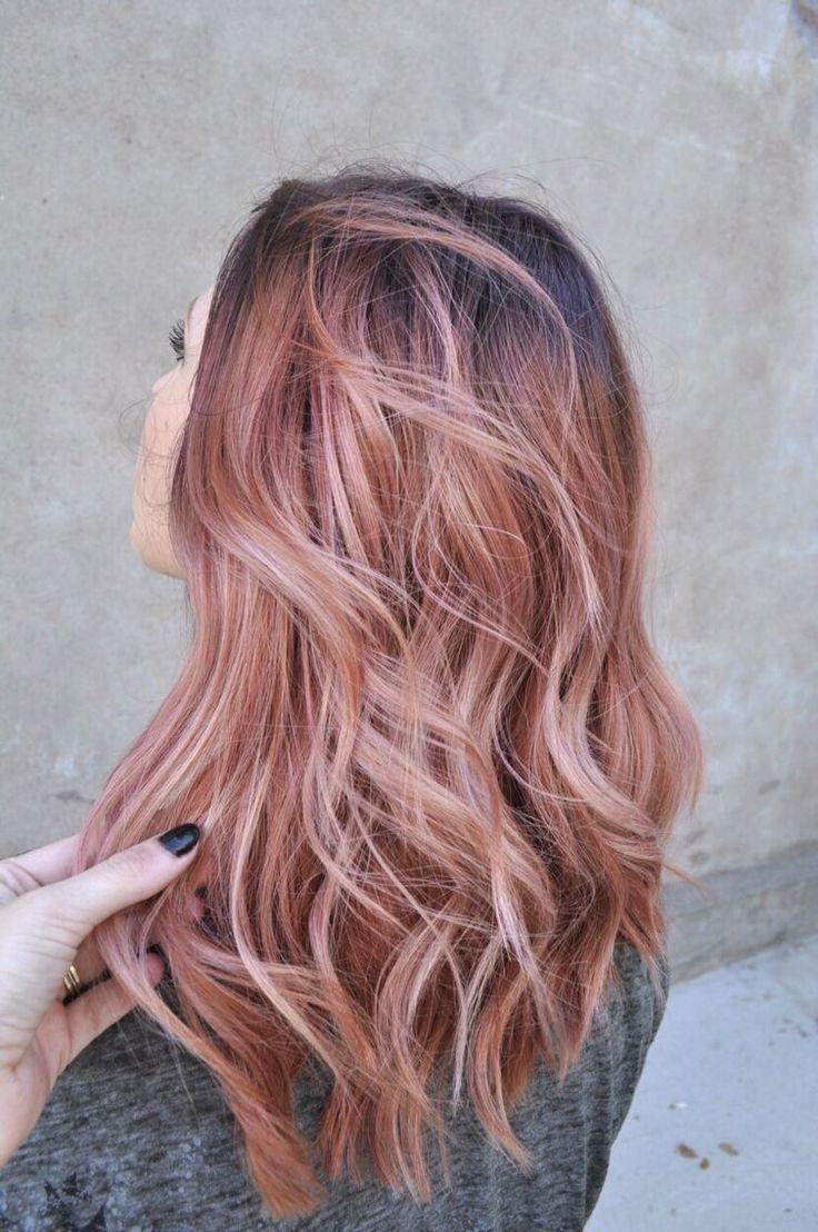 Pink rose gold hair. Waves haircut.