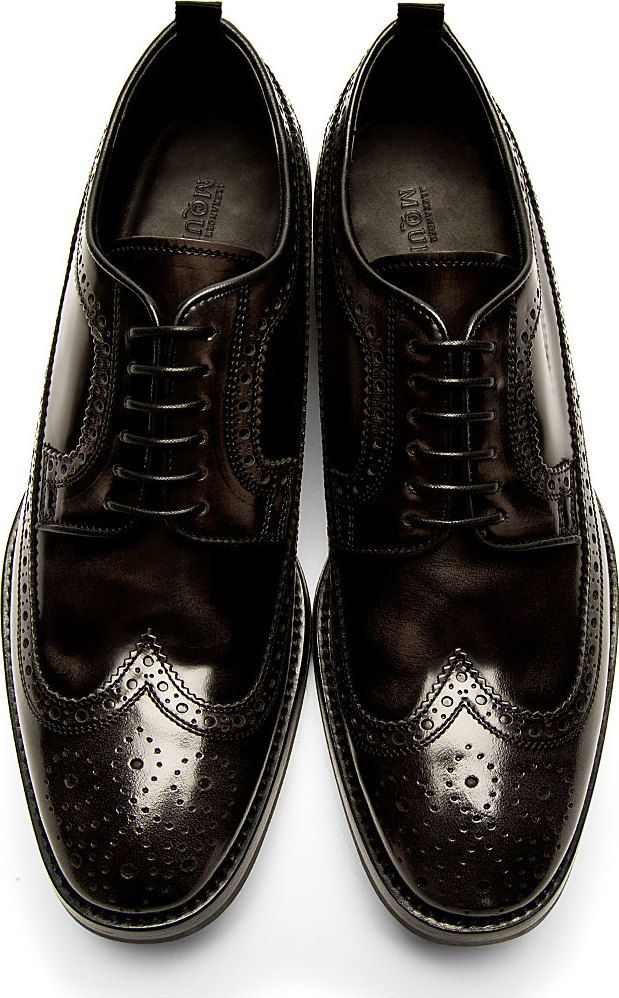 Alexander McQueen - Black Leather Longwing Brogues
