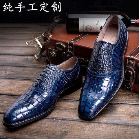 LUOANDA Goodyear handmade Italian leather shoes handmade men's blue crocodil...