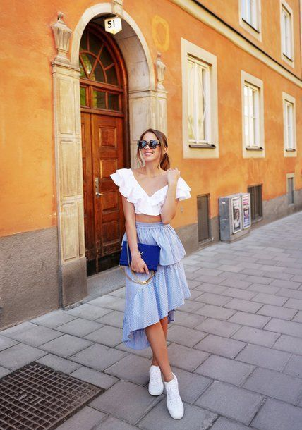 £32 ASOS Stripe Midi Light Blue Skirt with Deconstructed Detail Teamed With A W...