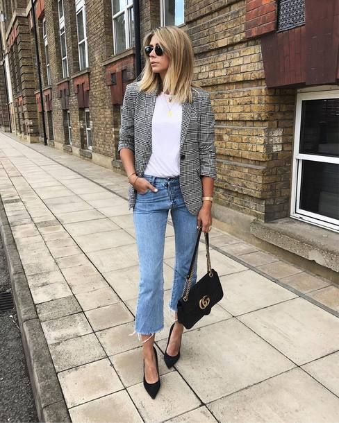 ASOS Tailored Clean Mansy Blazer in Check Teamed With Gianvito Rossi Gianvito 10...