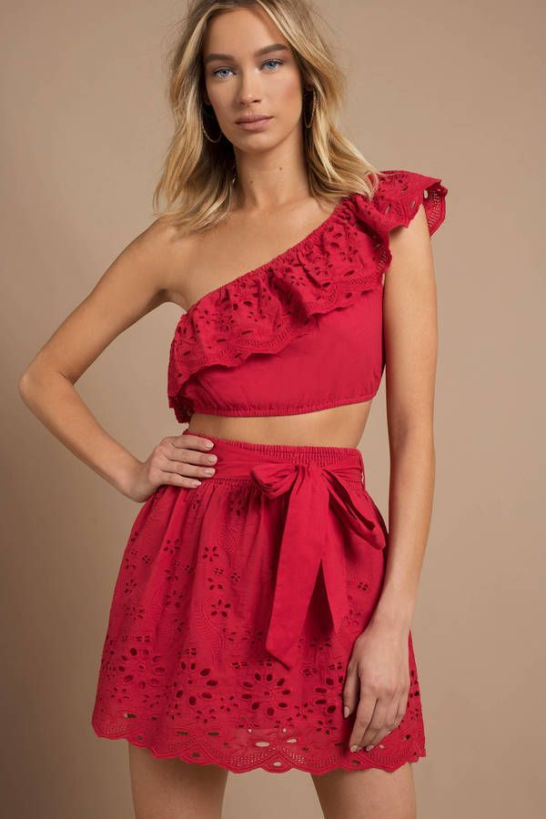Looking for the Kyla Red One Shoulder Crop Top? | Find Crop Tops and more at Tob...