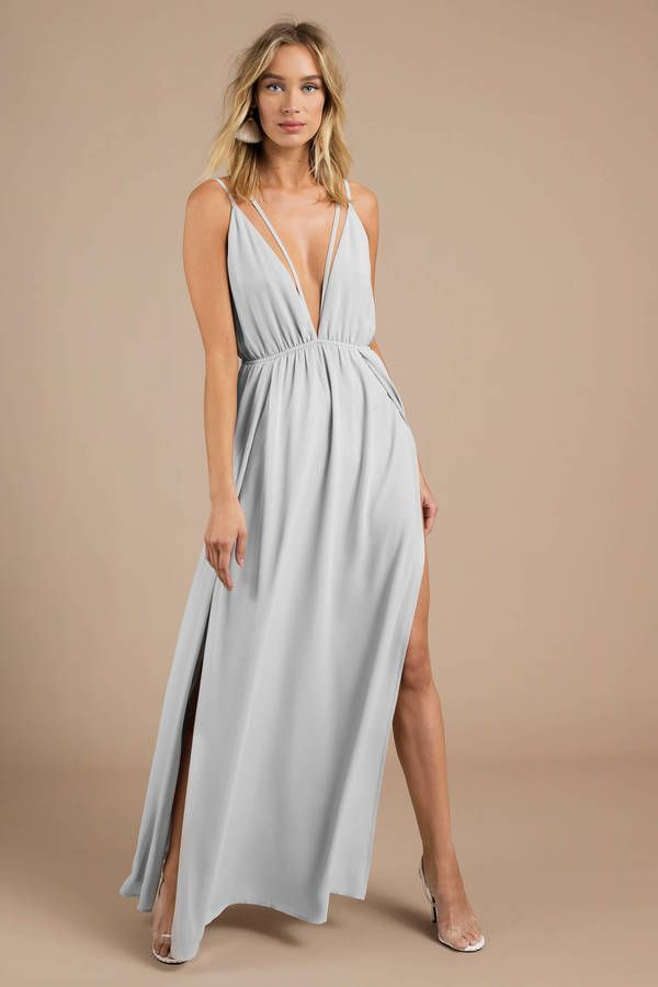 Looking for the Starry Sky Grey Plunging Maxi Dress? | Find Maxi Dresses and mor...