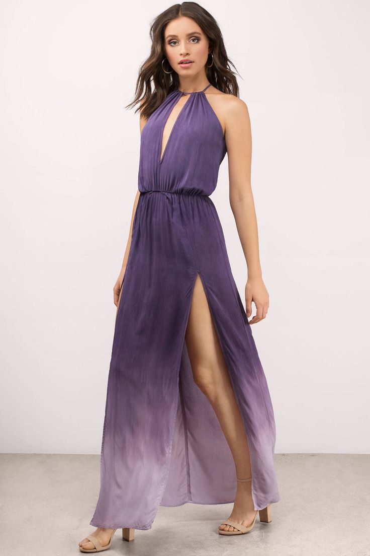 """dfdacb57eed Search """"Blue Life Carry On Ombre Wild Orchid Maxi Dress"""" on Tobi.com!  keyhole halter neck thigh slit split gown floor length dress cinched waist   ShopTobi ..."""