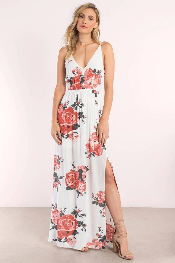 """a1c004a8a8e Search """"In Mind Rose Print Maxi Dress"""" on Tobi.com! surplice wrap look  cinched waist flowy cami strap deep v plunge plunging neckline slit thigh  splice rose ..."""