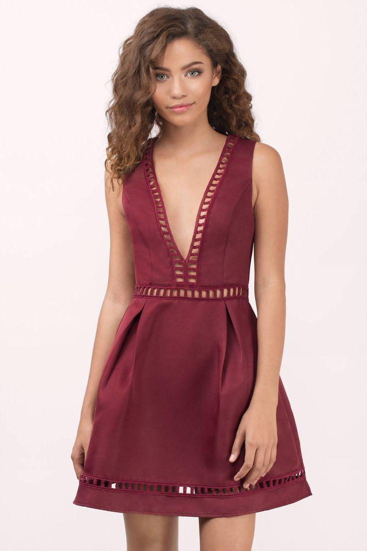 "5b5f51ec0a Search ""Kayla Black Skater Dress"" on Tobi.com! Romantic ladder trim satin  like fabric"