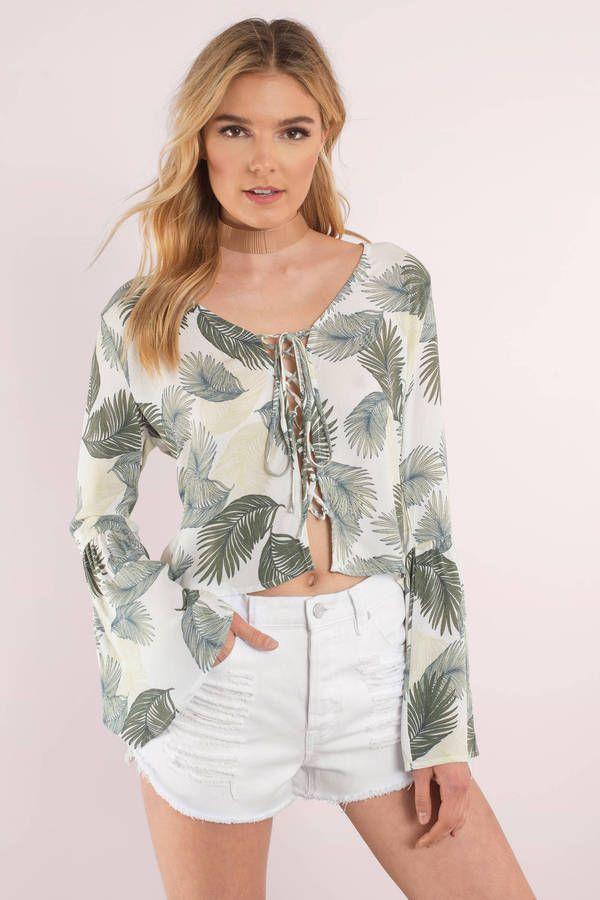 Palm Down Lace Up Top