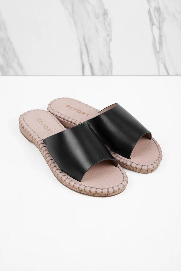 "e1f6671b3 Search ""Report Footwear Farrel Sandals"" on Tobi.com! slide slip on shoes  flat black peep toe  ShopTobi  fashion  summer  spring  festival Music  festival ..."