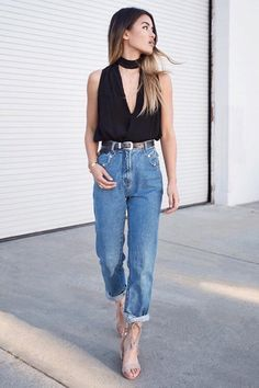 644f959c4620 Trendy Ideas For Summer Outfits   cropped boyfriend jeans with black ...