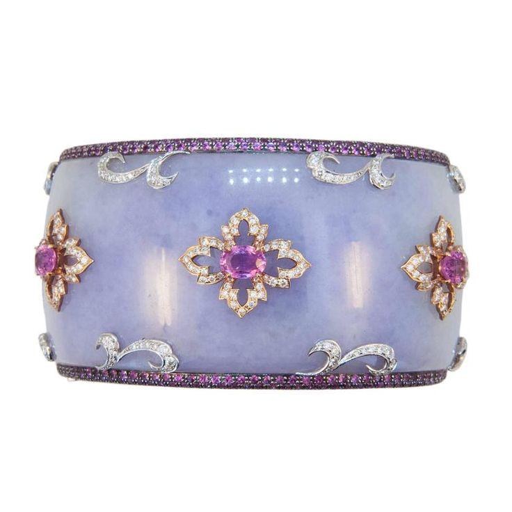 Laura Munder Lavender Jade Grenadill Wood Pink Sapphire Diamond Bangle Bracelet...