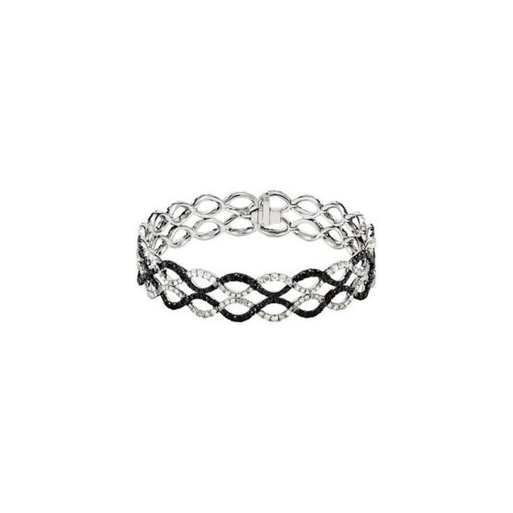 14k White Gold Black & White Diamond Bracelet
