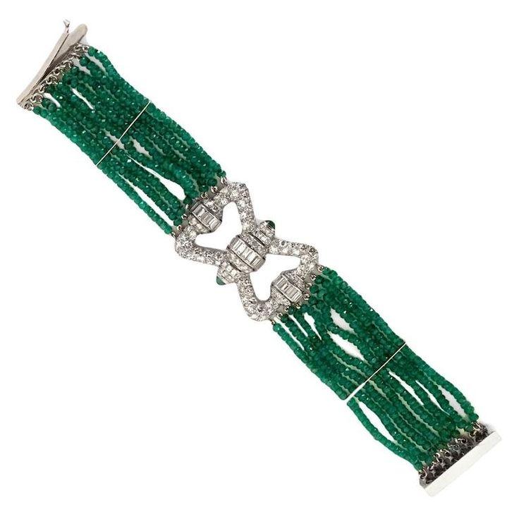 Elegant 7 Carat Emerald Diamond Platinum Bracelet