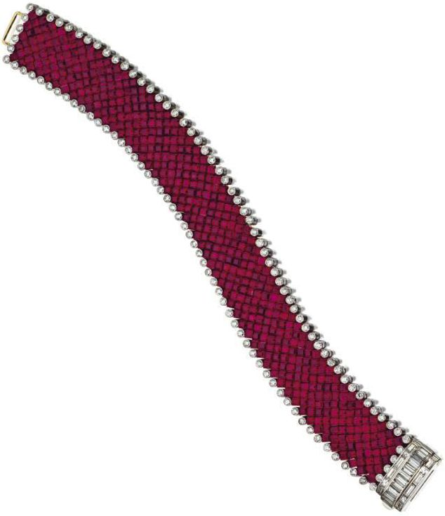 Aletto Brothers - Invisible-set ruby and diamond bracelet - The flexible strap i...