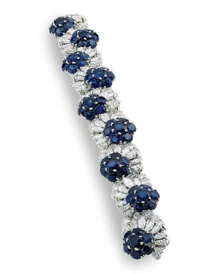 Estate Jewelry, Colored Gemstones, Blue Sapphire and Diamond Bracelet | M.S. Rau...