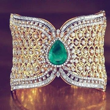 Gold, diamond, emerald cuff bracelet