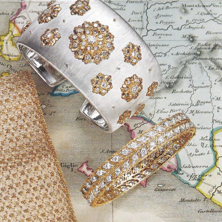 La Dolce Vita: two #Buccellati bracelets in white and yellow gold with diamonds ...