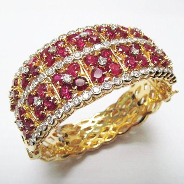 Natural Burmese ruby diamond bangle in 18k yellow gold #burmeseruby #ruby #bangl...