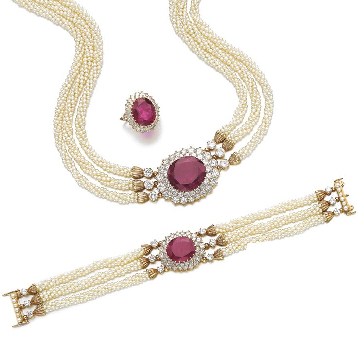 Ruby, seed pearl and diamond parure