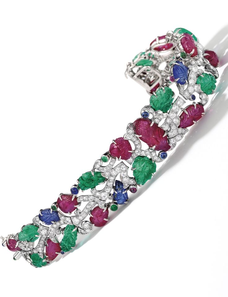 Very Rare and Exquisite Art Deco Gem Set and Diamond Bracelet, 'Tutti-Frutti...