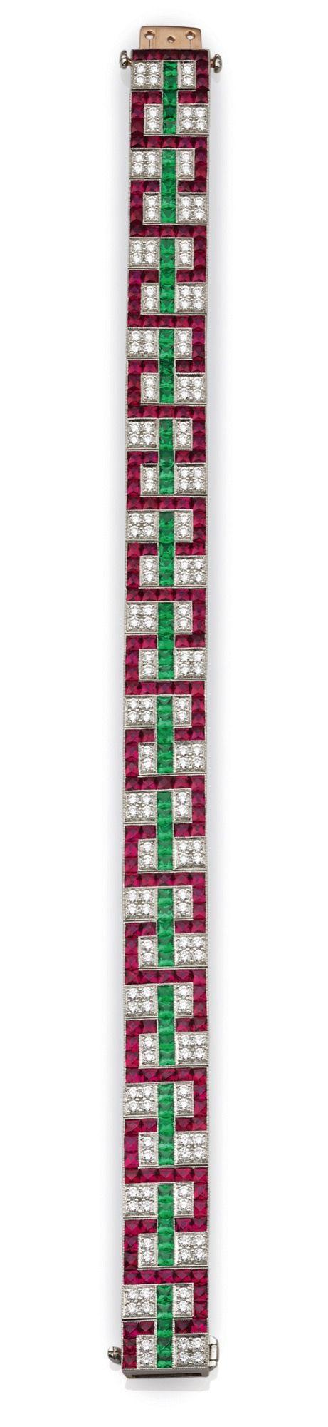 Very fine geometrical design diamond, ruby and emerald bracelet (apprx. 22.75ct....