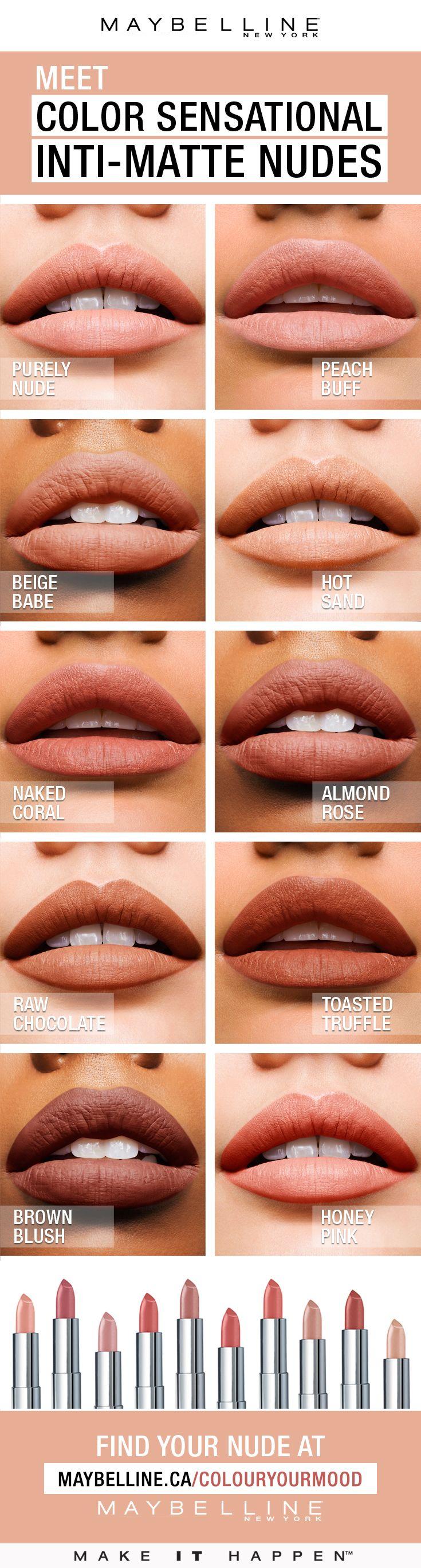Color Sensational® Inti-Matte Nude lipstick features warm, golden pigments that...