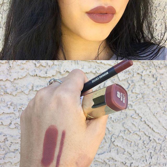 Milani Cosmetics matte beauty lipstick $5 (#69) & I pair it with MAC Cosmetics m...