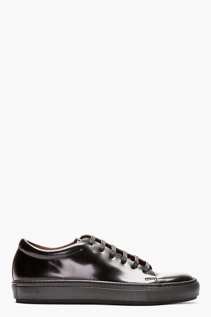 ACNE STUDIOS BLACK PATENT leather SNEAKERs