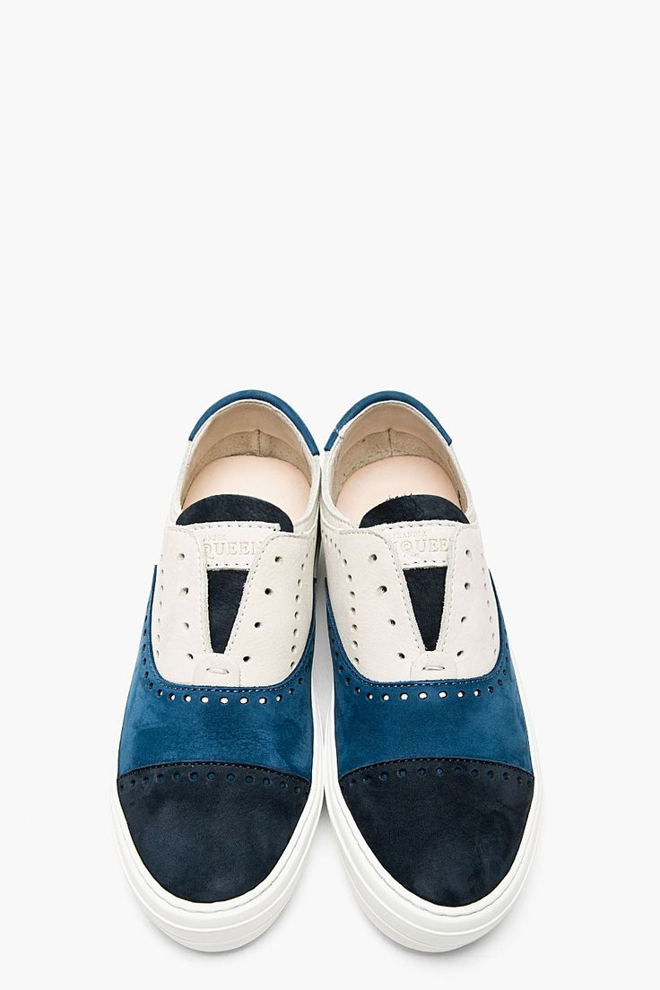 ALEXANDER MCQUEEN Blue & white Suede perforated sneakers