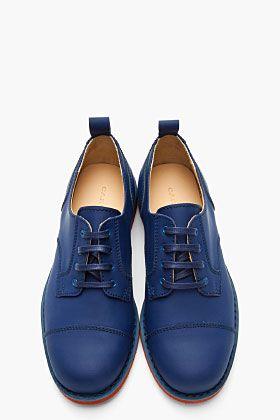 CARVEN Blue Matte Leather Derby Lace Up Shoes