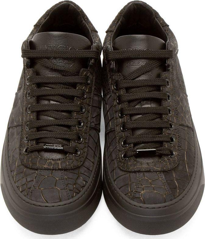 Jimmy Choo Black Croc-Embossed Portman Sneakers